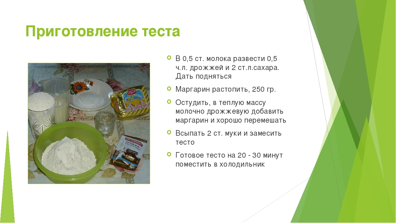 Приготовление теста В 0,5 ст. молока развести 0,5 ч.л. дрожжей и 2 ст.л.сахар...