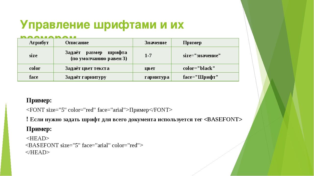 Управление шрифтами и их размером Пример: Пример ! Если нужно задать шрифт дл...