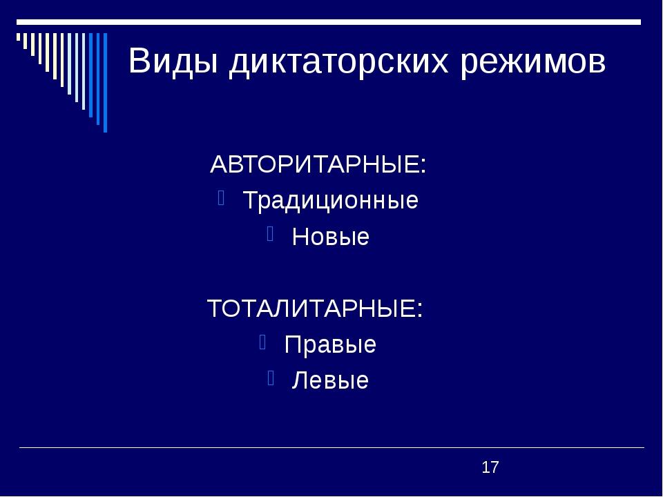 Виды диктаторских режимов АВТОРИТАРНЫЕ: Традиционные Новые ТОТАЛИТАРНЫЕ: Пра...