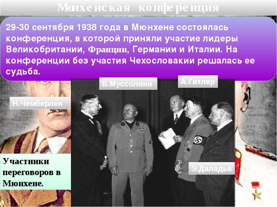 Мюнхенская конференция 29-30 сентября 1938 года в Мюнхене состоялась конферен...
