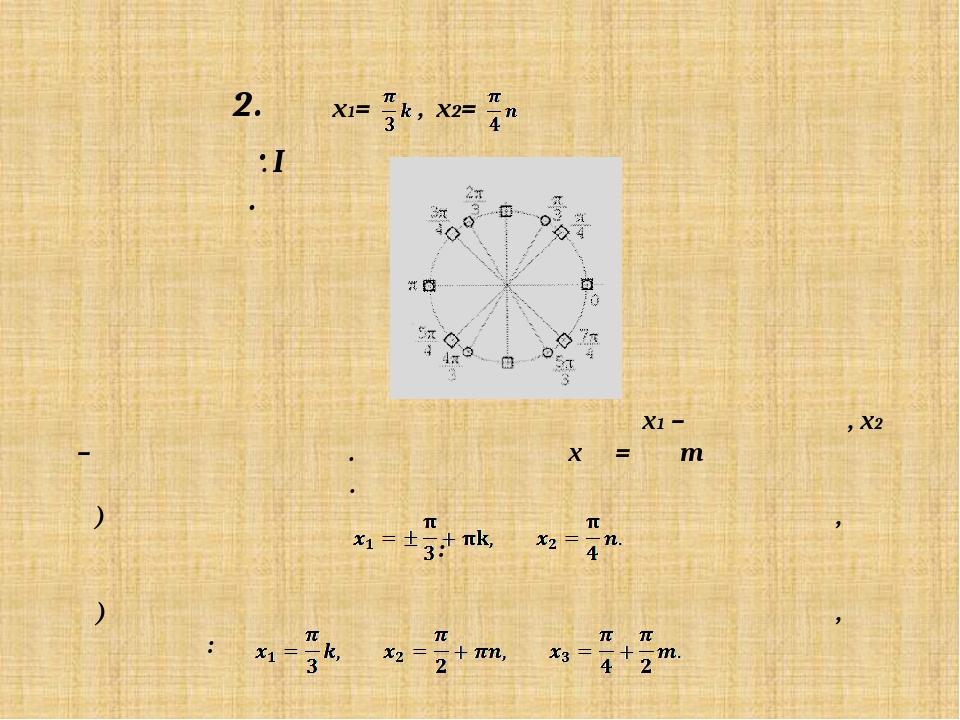 x1= , x2= Решение. I способ. Нанесем на окружности значения x1 – кружками, x2...