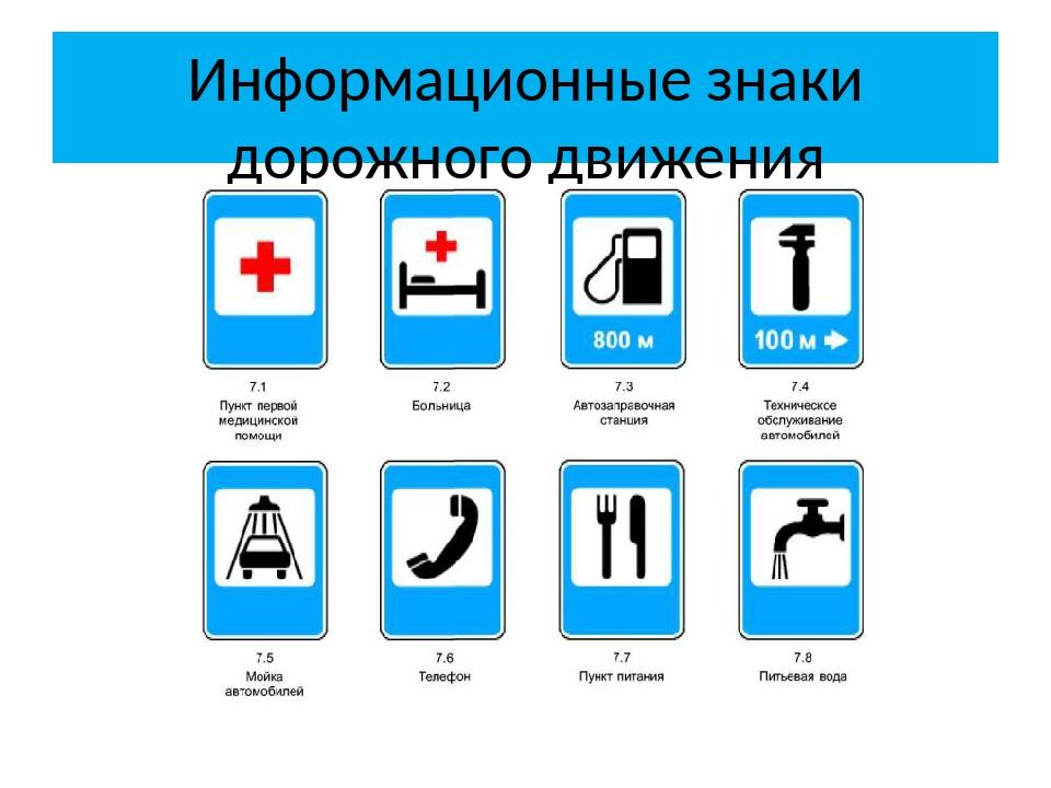 Информационные дорожные знаки в картинках