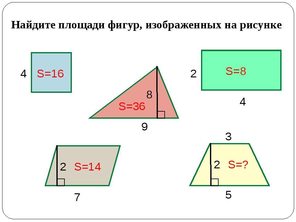 Найдите площади фигур, изображенных на рисунке 4 9 4 2 7 8 2 5 3 2 S=16 S=36...