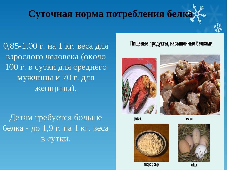 Суточная норма потребления белка 0,85-1,00 г. на 1 кг. веса для взрослого чел...