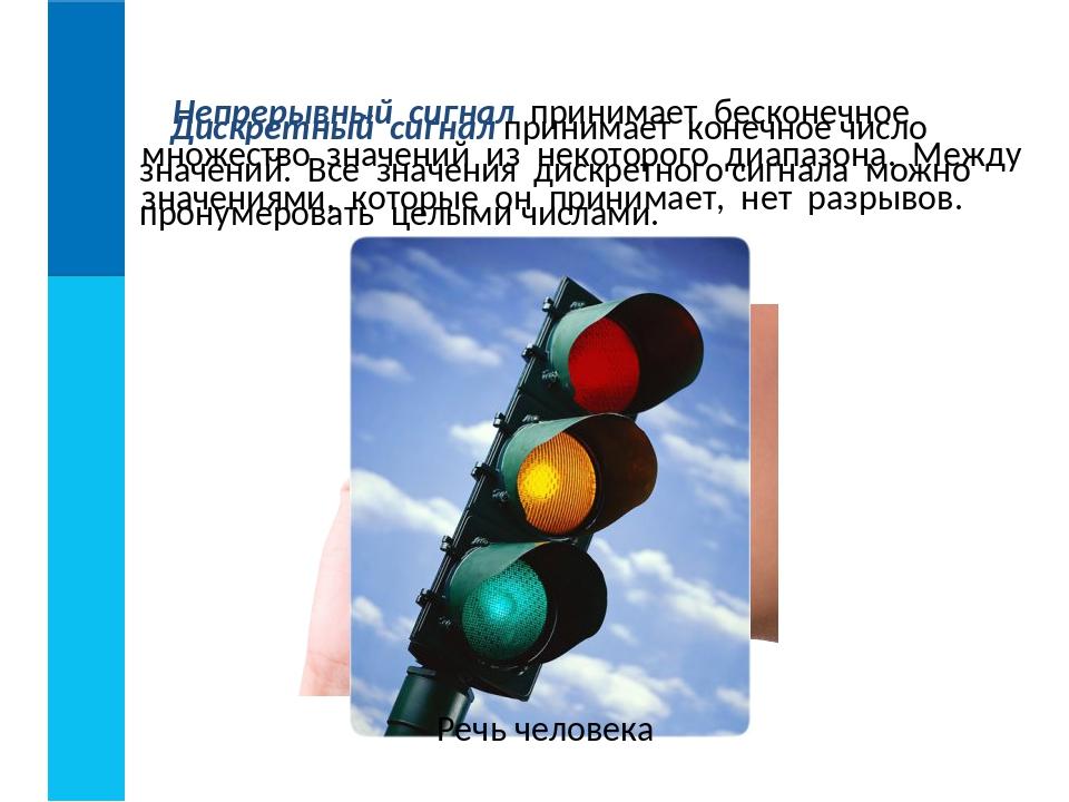 Непрерывный сигнал принимает бесконечное множество значений из некоторого диа...