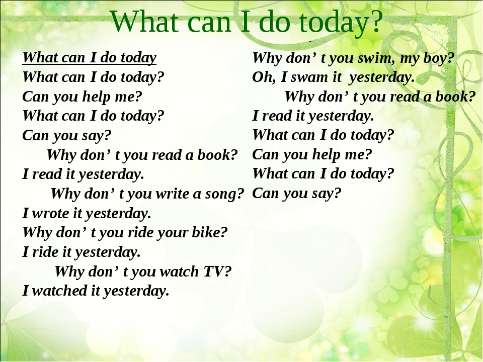 What can I do today? What can I do today What can I do today? Can you help me...