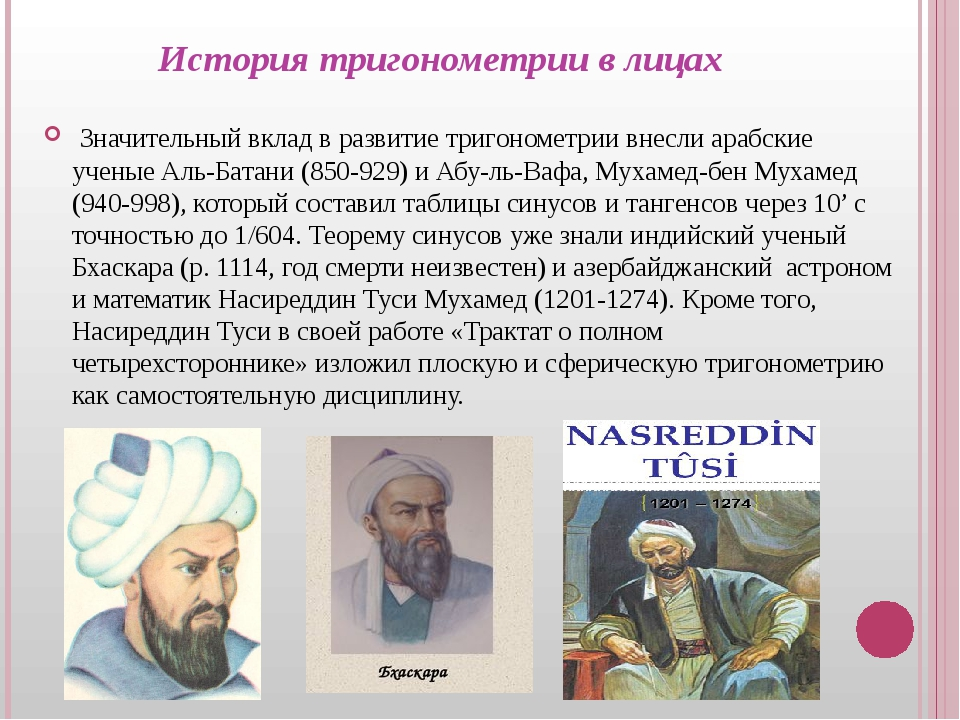 История тригонометрии в лицах Значительный вклад в развитие тригонометрии вне...