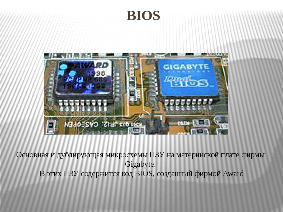 BIOS Основная идублирующая микросхемыПЗУнаматеринской платефирмыGigabyt...
