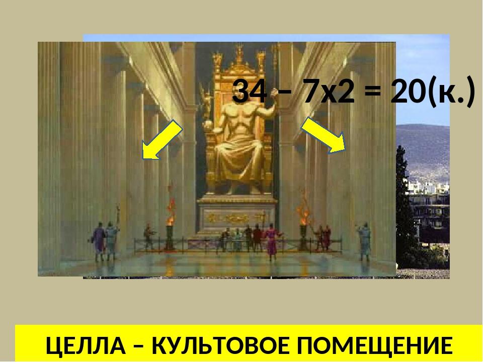 ЦЕЛЛА – КУЛЬТОВОЕ ПОМЕЩЕНИЕ 34 – 7x2 = 20(к.)