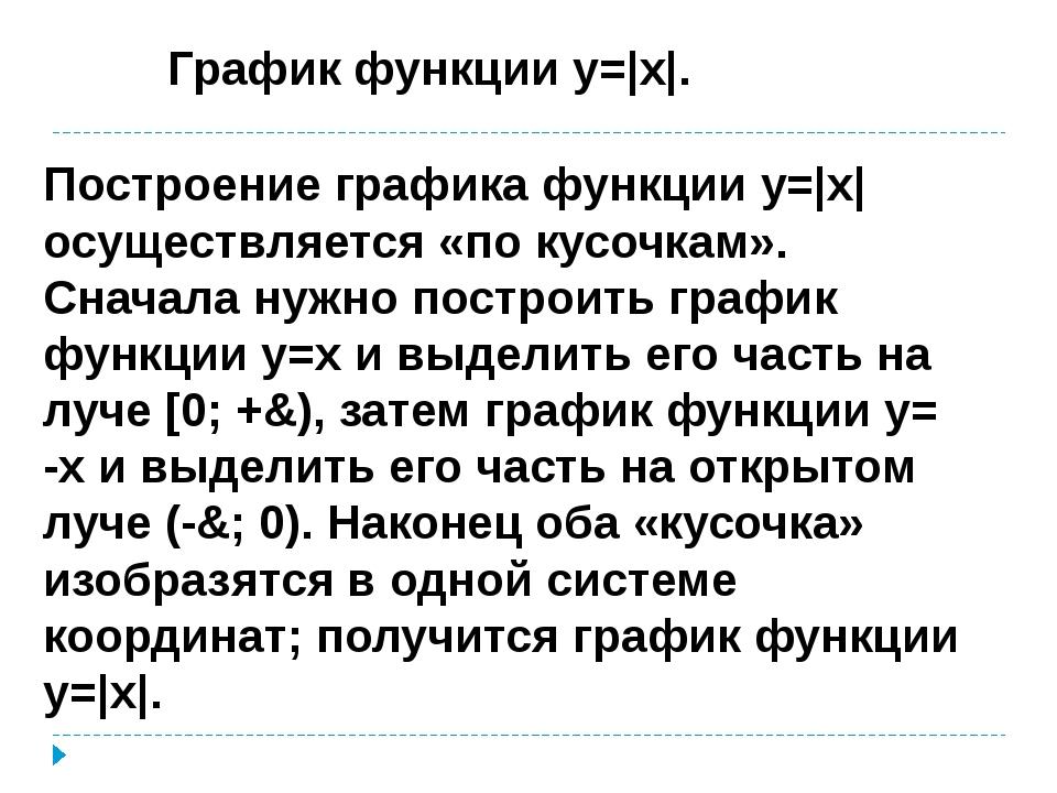 График функции y= x . Построение графика функции y= x  осуществляется «по кус...