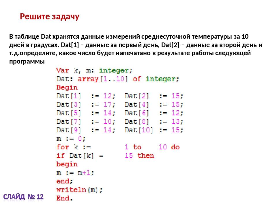 Решите задачу В таблице Dat хранятся данные измерений среднесуточной температ...