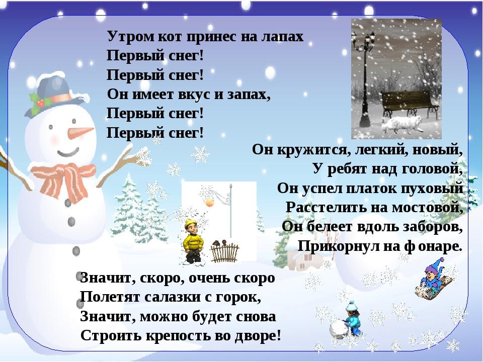 стихи на тему первый снег знаем все