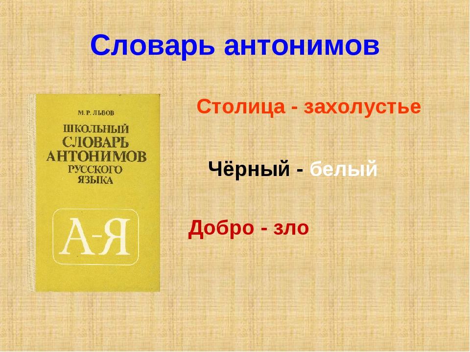 Словарь антонимов Столица - захолустье Чёрный - белый Добро - зло