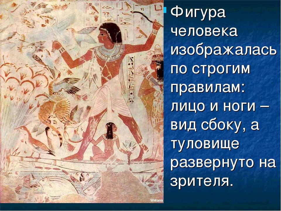 Фигура человека изображалась по строгим правилам: лицо и ноги – вид сбоку, а...