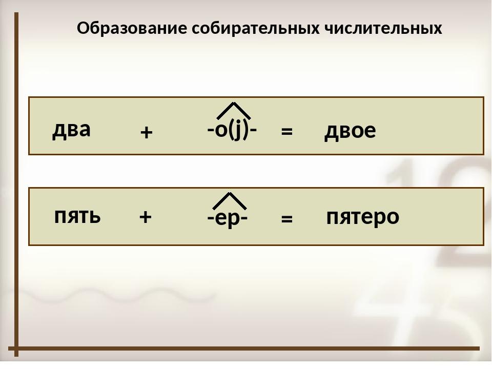 два пять + + -о(j)- -ер- = = двое пятеро Образование собирательных числитель...