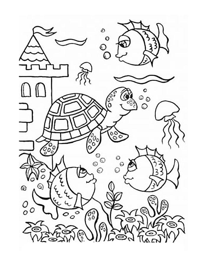 противомоскитной картинки для раскраски на морскую тему мире