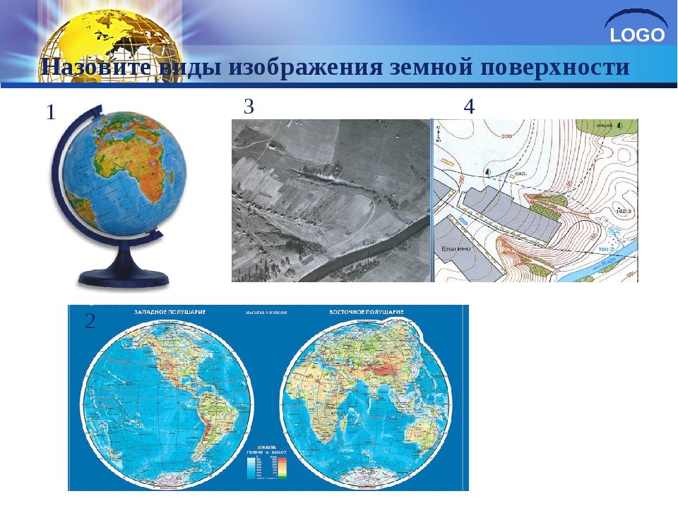 Назовите виды изображения земной поверхности 1 2 3 4 LOGO