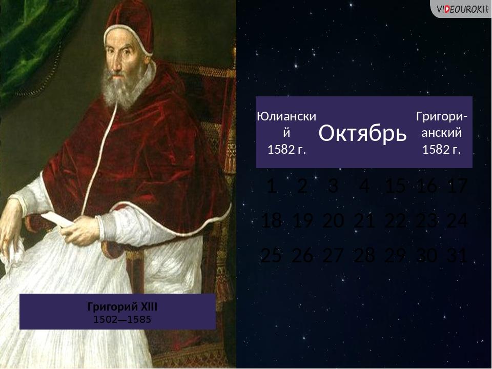 Григорий XIII 1502—1585 Юлианский 1582 г. Октябрь Григори-анский 1582 г. 1 2...