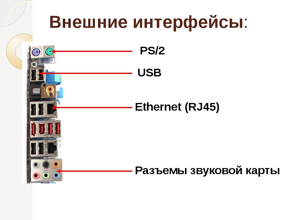 Внешние интерфейсы: PS/2 USB Ethernet (RJ45) Разъемы звуковой карты