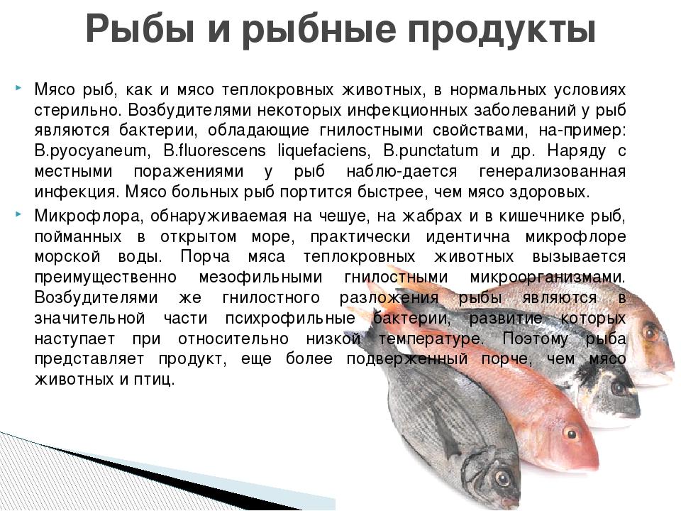 Мясо рыб, как и мясо теплокровных животных, в нормальных условиях стерильно....