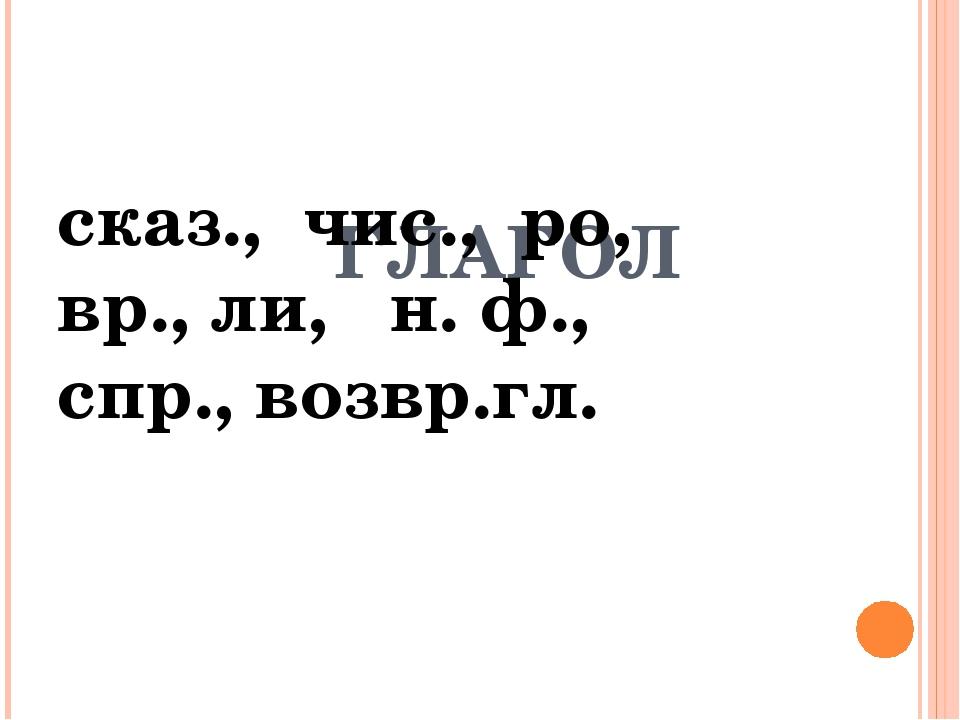 ГЛАГОЛ сказ., чис., ро, вр., ли, н. ф., спр., возвр.гл.