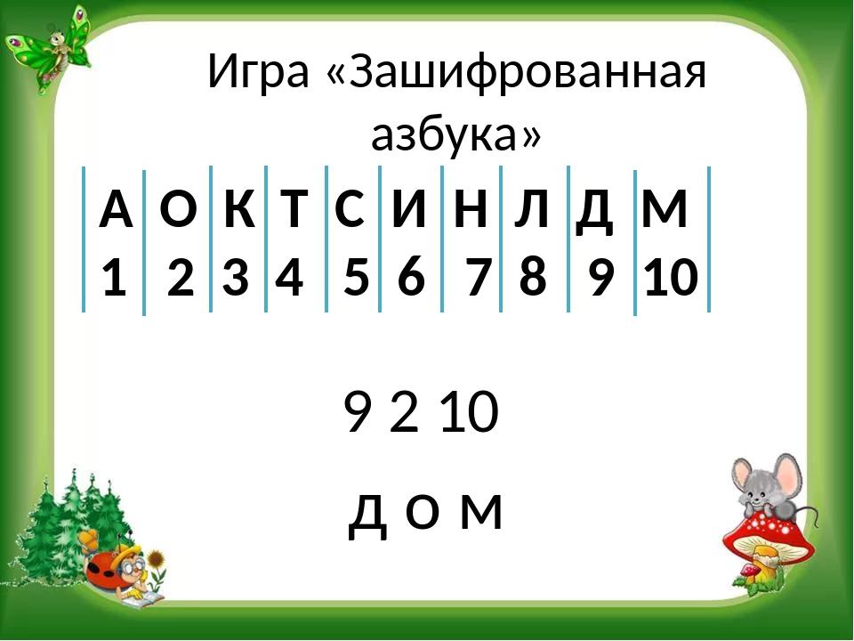 Игра «Зашифрованная азбука» 9 2 10 А О К Т С И Н Л Д М 1 2 3 4 5 6 7 8 9 10 д...