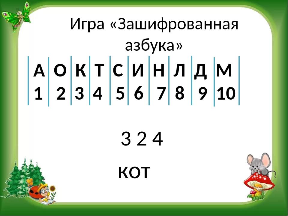 Игра «Зашифрованная азбука» 3 2 4 А О К Т С И Н Л Д М 1 2 3 4 5 6 7 8 9 10 кот