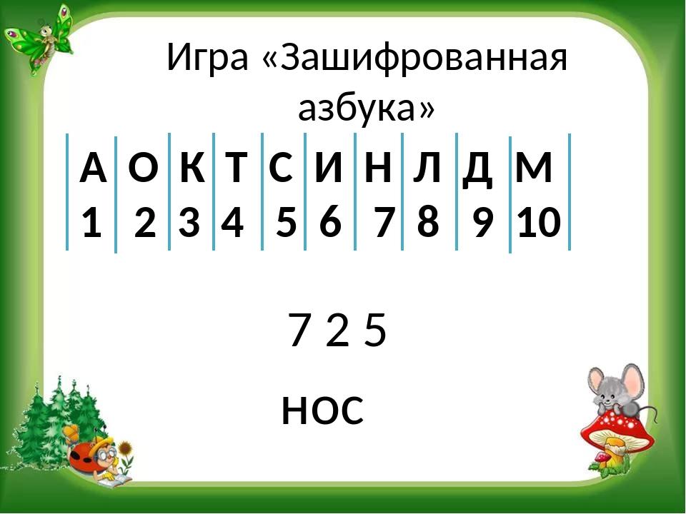 Игра «Зашифрованная азбука» 7 2 5 А О К Т С И Н Л Д М 1 2 3 4 5 6 7 8 9 10 нос