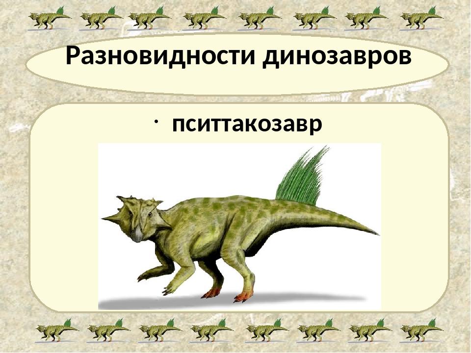 Разновидности динозавров пситтакозавр