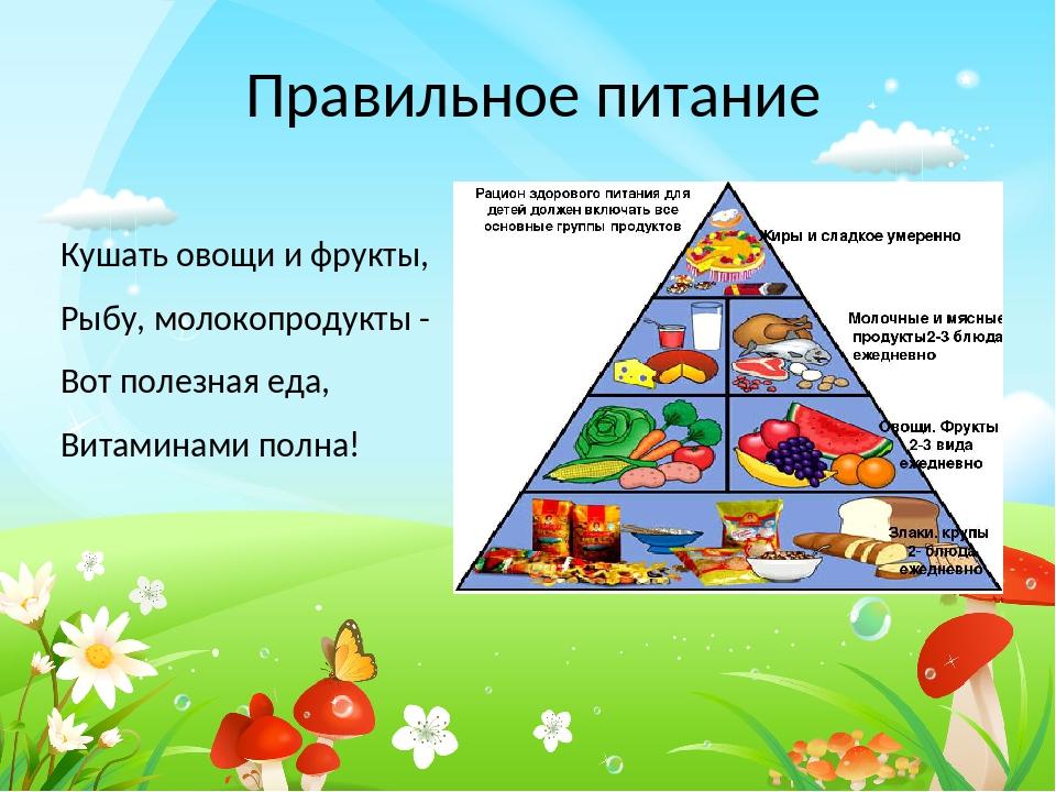 Кушать овощи и фрукты, Рыбу, молокопродукты - Вот полезная еда, Витаминами по...