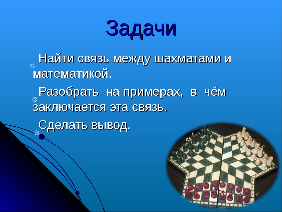Задачи Найти связь между шахматами и математикой. Разобрать на примерах, в чё...