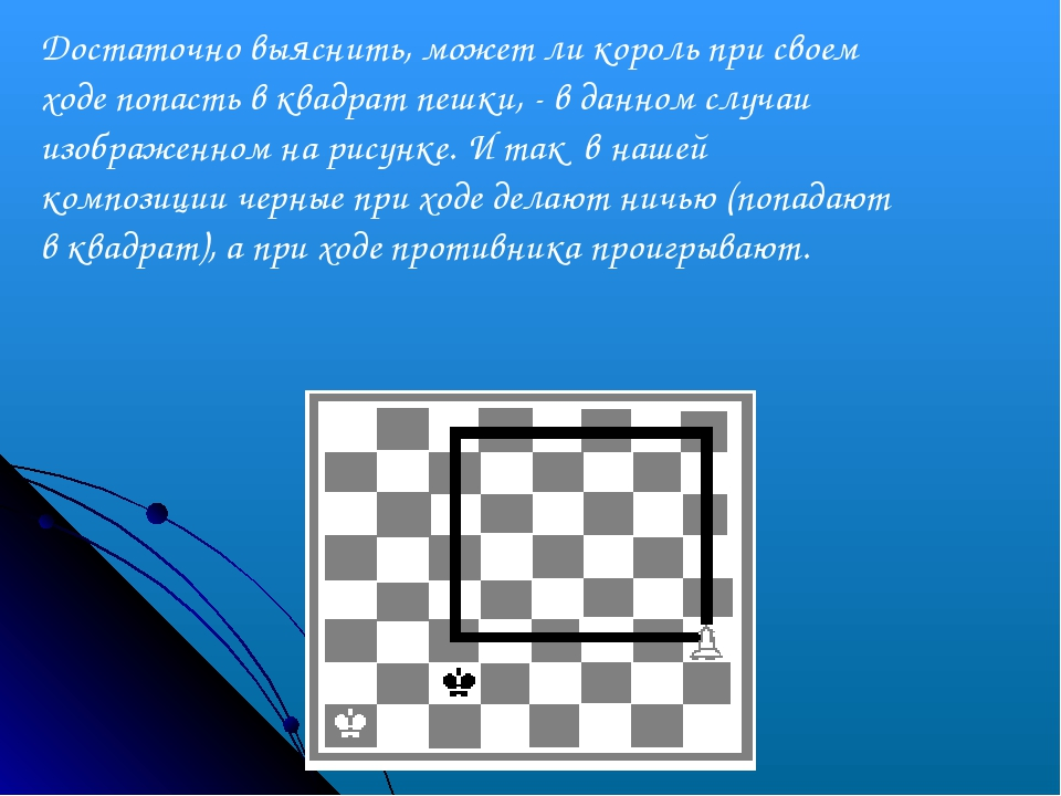 Достаточно выяснить, может ли король при своем ходе попасть в квадрат пешки,...