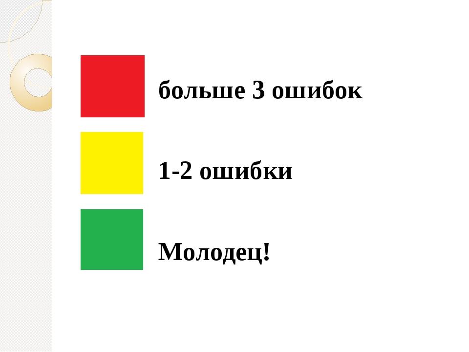 больше 3 ошибок 1-2 ошибки Молодец!