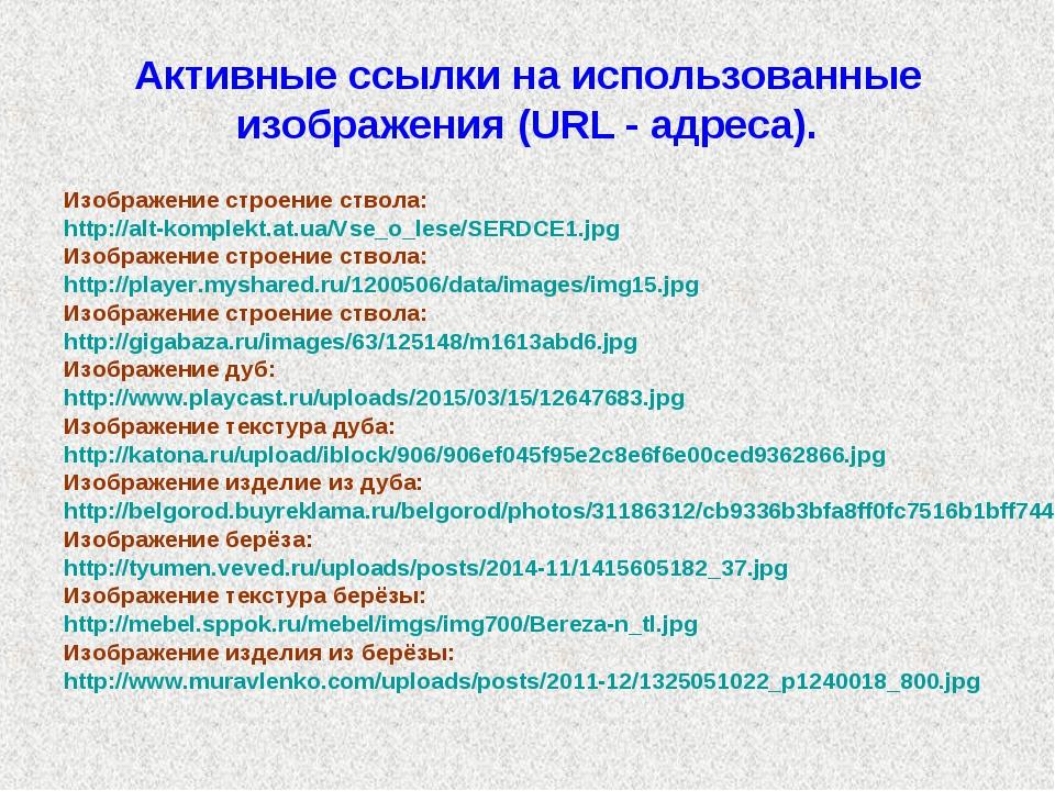 Активные ссылки на использованные изображения (URL - адреса). Изображение стр...