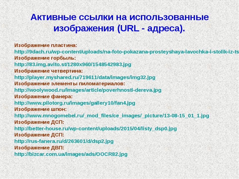 Активные ссылки на использованные изображения (URL - адреса). Изображение пла...