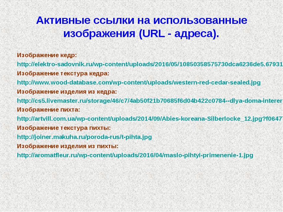 Активные ссылки на использованные изображения (URL - адреса). Изображение кед...