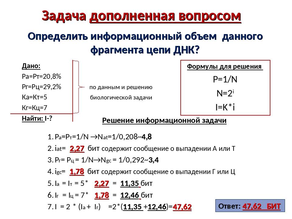 Цепочка днк решение задач решение с2 задач типа с2