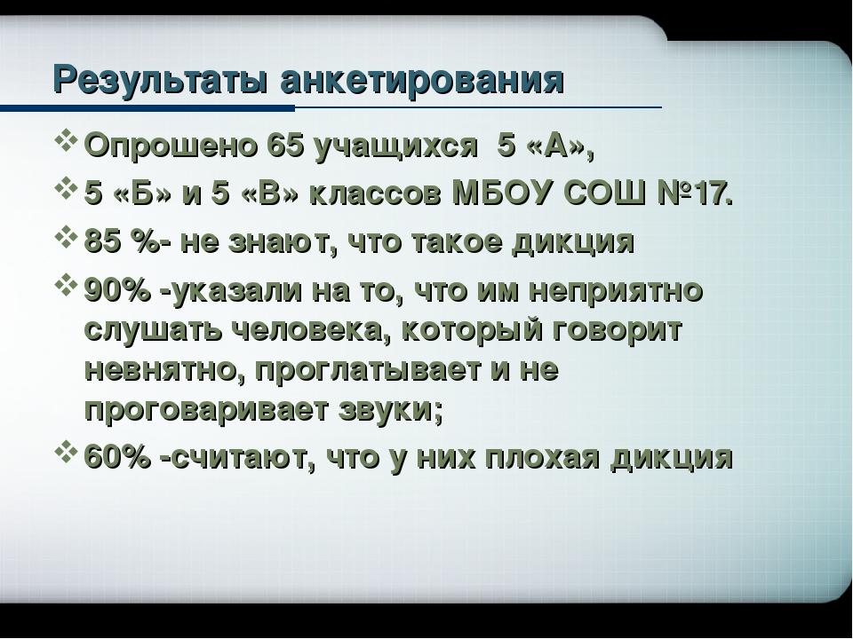 Результаты анкетирования Опрошено 65 учащихся 5 «А», 5 «Б» и 5 «В» классов МБ...