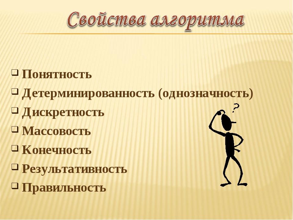 Понятность Детерминированность (однозначность) Дискретность Массовость Конечн...