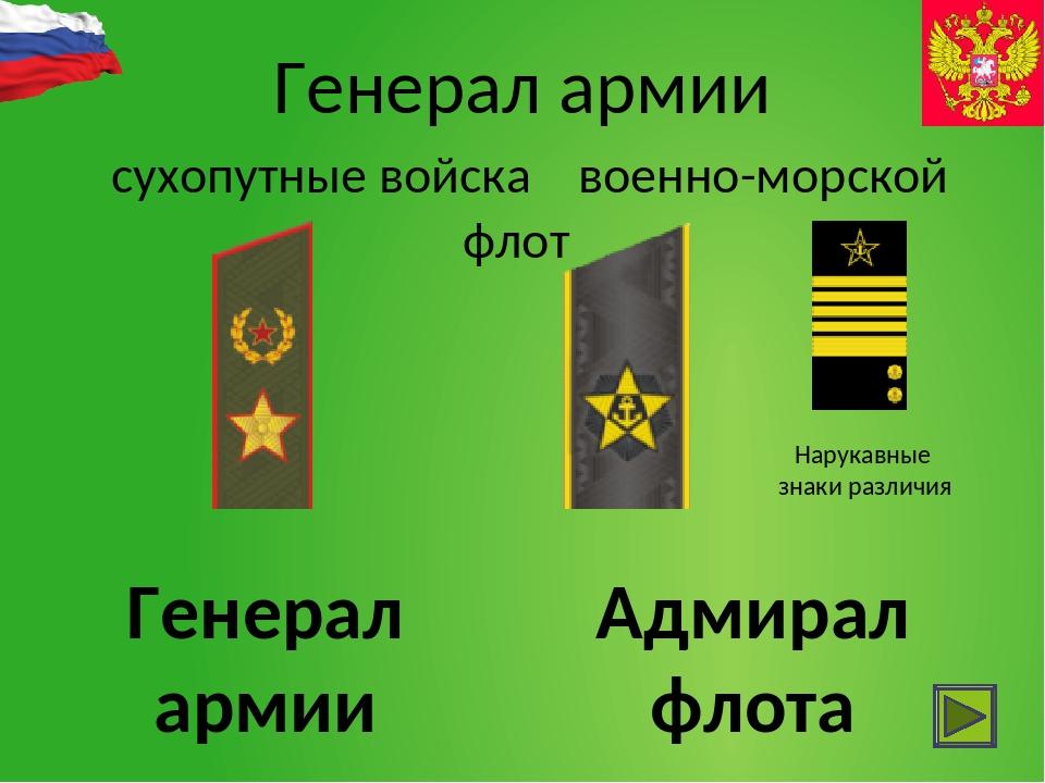 Проверим знания Нарукавный знак различия звание во флоте соответствующего ген...