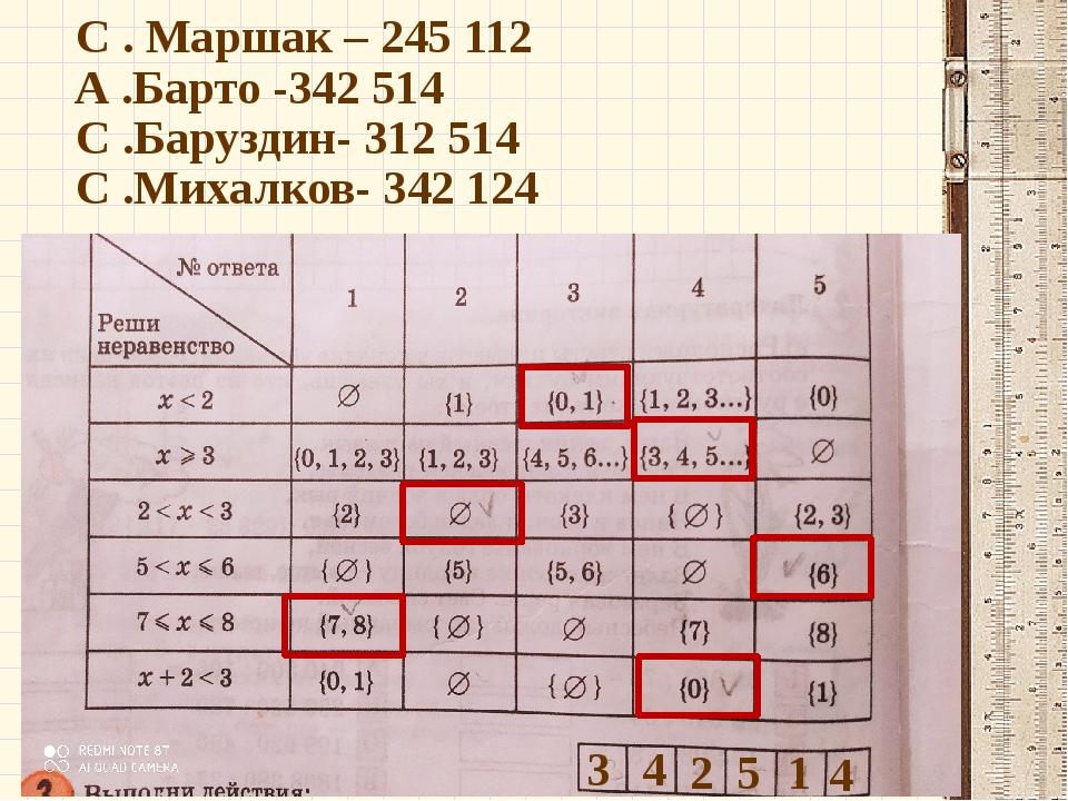 С . Маршак – 245 112 А .Барто -342 514 С .Баруздин- 312 514 С .Михалков- 342...