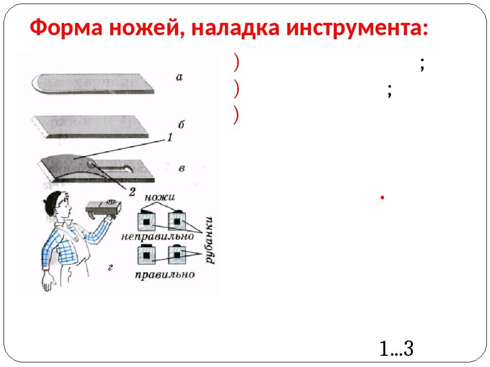 Форма ножей, наладка инструмента: а) для шерхебеля; б) для рубанка; в) двойно...