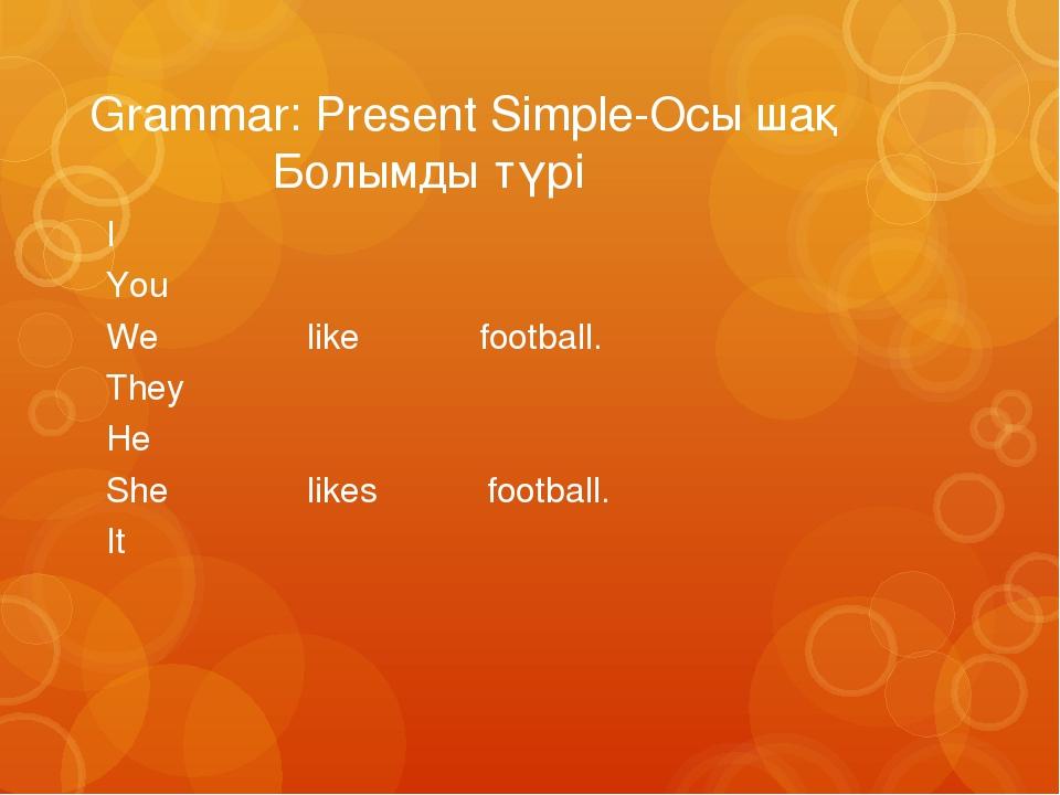 Grammar: Present Simple-Осы шақ Болымды түрі I You We like football. They He...