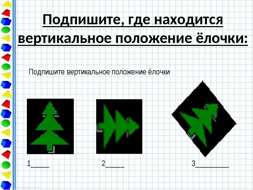 Подпишите, где находится вертикальное положение ёлочки:
