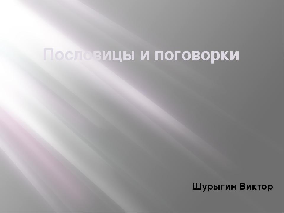 Пословицы и поговорки Шурыгин Виктор