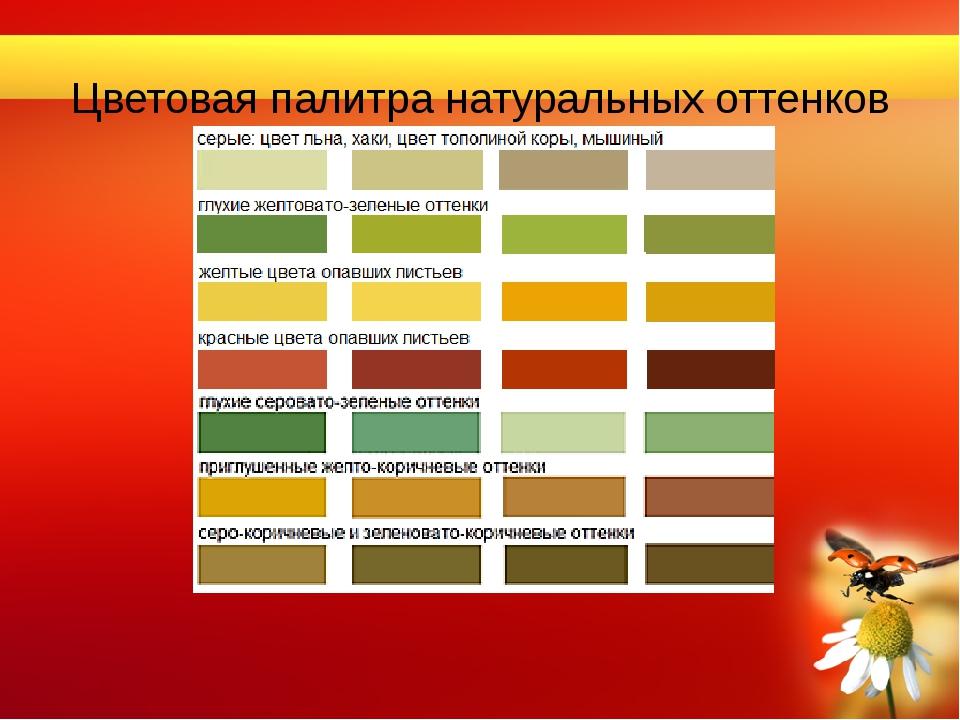 Цветовая палитра натуральных оттенков