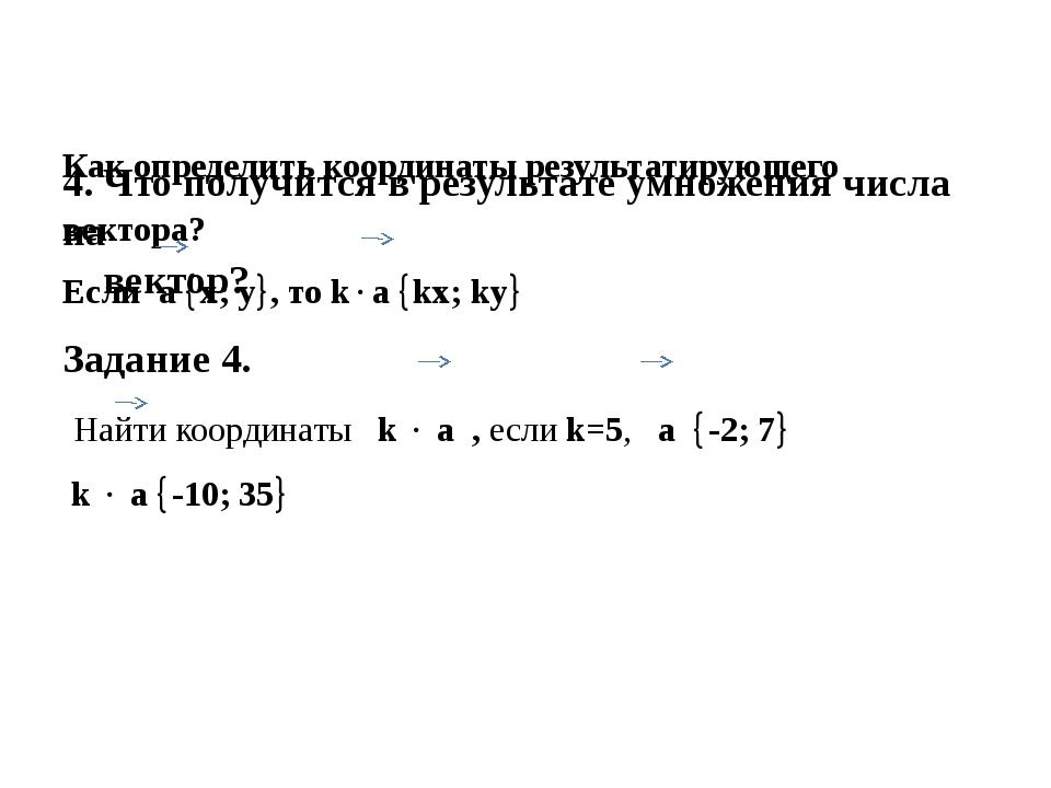4. Что получится в результате умножения числа на вектор? Как определить коор...