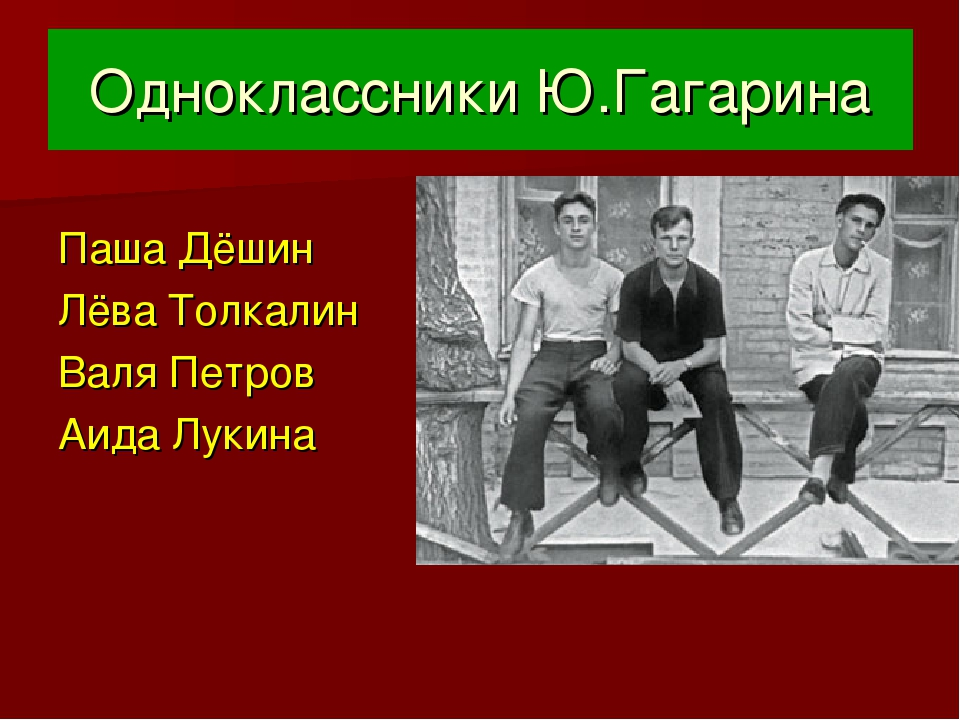 Одноклассники Ю.Гагарина Паша Дёшин Лёва Толкалин Валя Петров Аида Лукина
