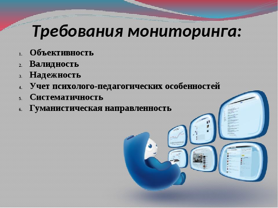 Требования мониторинга: Объективность Валидность Надежность Учет психолого-пе...