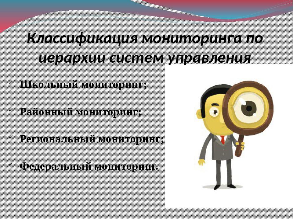 Классификация мониторинга по иерархии систем управления Школьный мониторинг;...